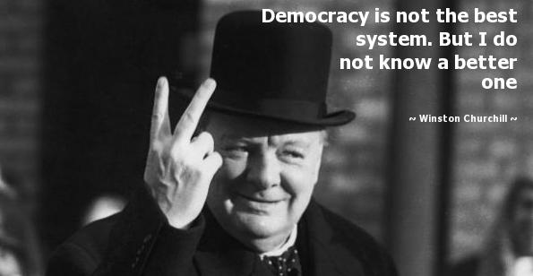 fluitend opstaan, democratie, Chruchill